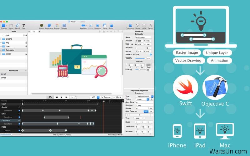 QuartzCode for Mac 1.33 破解版 – 实用的iOS矢量动画编程工具-麦氪搜(iMacso.com)