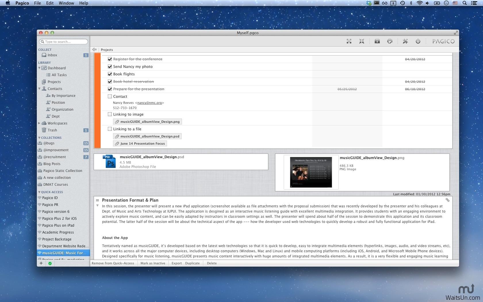 Pagico for Mac 7.1 中文破解版 – 优秀的项目管理工具-麦氪搜(iMacso.com)